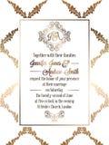 Vintage baroque style wedding invitation card template. Elegant formal design with damask background, traditional decoration for wedding vector illustration