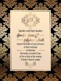 Vintage baroque style wedding invitation card template. Elegant formal design with damask background, traditional decoration for wedding Stock Images