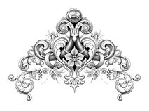 Vintage Baroque Victorian frame border corner monogram floral ornament scroll engraved pattern tattoo calligraphic vector heraldi royalty free illustration
