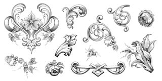 Free Vintage Baroque Victorian Frame Border Floral Ornament  Scroll Engraved Retro Pattern Tattoo Calligraphic Vector Heraldic Stock Photography - 150358612