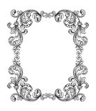 Vintage Baroque Victorian frame border monogram floral ornament  scroll engraved retro pattern tattoo calligraphic vector heraldic Stock Image