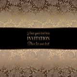 Intricate baroque luxury wedding invitation card. Vintage baroque Wedding Invitation template with  background. Traditional decoration for wedding. Vector Stock Photography