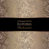 Intricate baroque luxury wedding invitation card. Vintage baroque Wedding Invitation template with  background. Traditional decoration for wedding. Vector Stock Images