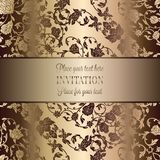 Intricate baroque luxury wedding invitation card. Vintage baroque Wedding Invitation template with butterfly background. Traditional decoration for wedding Stock Photography