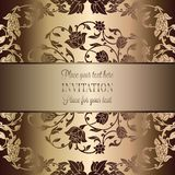 Intricate baroque luxury wedding invitation card. Vintage baroque Wedding Invitation template with butterfly background. Traditional decoration for wedding Royalty Free Stock Image