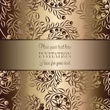 Intricate baroque luxury wedding invitation card. Vintage baroque Wedding Invitation template with butterfly background. Traditional decoration for wedding Stock Photo