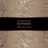 Intricate baroque luxury wedding invitation card. Vintage baroque Wedding Invitation template with butterfly background. Traditional decoration for wedding Stock Photos
