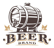 Vintage barrel of beer. Logo desing om white. Text is on the separate layer Stock Photo
