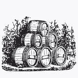 Vintage barrel engraving Royalty Free Stock Photography