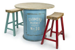 Vintage barrel table with two modern high chairs, Royalty Free Stock Images