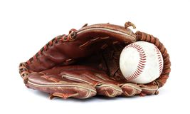 Vintage baseball. Baseball glove and ball on a white background Royalty Free Stock Photos