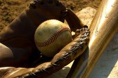 Vintage baseball on base Stock Images