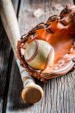 Vintage Baseball bat and ball Royalty Free Stock Photography