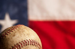 Vintage baseball and flag Stock Photos