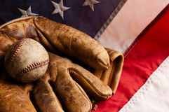 Vintage baseball on flag
