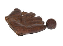 Vintage baseball glove and ball Royalty Free Stock Photos