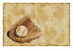 Vintage baseball glove and ball Stock Photos