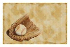 Vintage baseball glove and ball Stock Photos