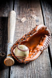 Vintage baseball glove and ball Stock Image