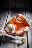 Vintage baseball glove and ball Stock Images