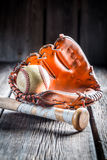 Vintage Baseball glove and ball Royalty Free Stock Photography