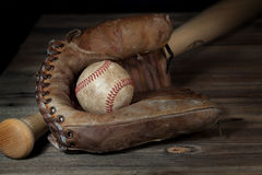 Vintage Baseball in Mitt 2 Royalty Free Stock Images