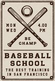 Vintage baseball school poster, template, banner in retro style. Stock Photo