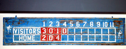 Vintage baseball scoreboard. Royalty Free Stock Photography