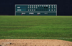 Vintage baseball scoreboard. VIntage manual baseball scoreboard in the outfield Stock Photography