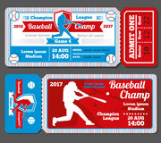 Vintage baseball, sports vector tickets set Royalty Free Stock Photography