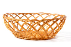 Vintage Basket. Woven of twigs isolated on white Royalty Free Stock Photography