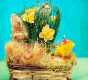 Vintage  basket with easter eggs Royalty Free Stock Photos