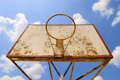 Vintage basketball. View from below  basketball vintage ring Royalty Free Stock Image