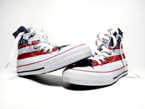 Vintage basketball shoes with usa flag Royalty Free Stock Image