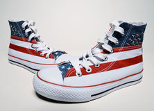Vintage basketball shoes with usa flag Stock Images