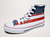 Vintage basketball shoes with usa flag Royalty Free Stock Photography