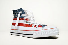Vintage basketball shoes with usa flag Royalty Free Stock Photos