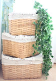 Vintage baskets with leaves Royalty Free Stock Images