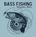 Vintage bass fishing emblems, labels Royalty Free Stock Photos
