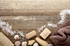 Vintage Bath Accessories on Wood Spa Background royalty free stock photos