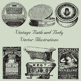 Vintage Bath and Body Vector Illustrations Royalty Free Stock Images
