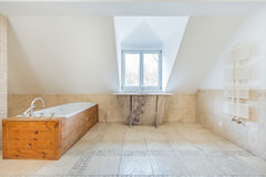 Vintage bathroom in the attic Royalty Free Stock Image