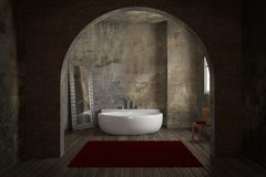 Vintage bathroom with brick wall Stock Image