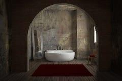 Vintage bathroom with brick wall. And big mirror Stock Image