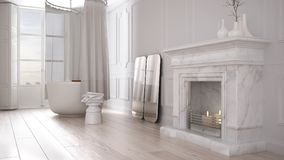 Vintage bathroom in classic space with old fireplace and parquet floor, modern interior design royalty free illustration