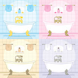 Vintage Bathtub Bathroom Set Stock Photo