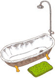 Vintage Bathtub Isolated on White Royalty Free Stock Photo