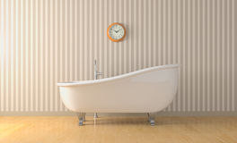 Vintage bathtub. One bathroom with a vintage bathtub and a wall clock (3d render Royalty Free Stock Photo