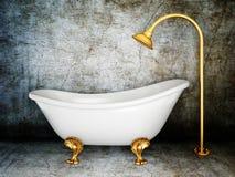 Bathtub. Vintage bathtub in room with grunge wall Royalty Free Stock Photo