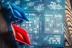 Vintage battleship paper game as a battle concept Royalty Free Stock Photography